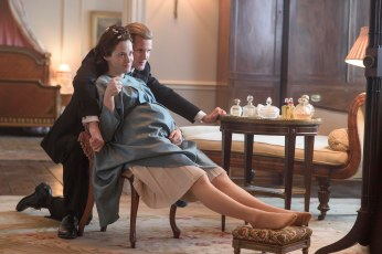 The Crown (L to R) Prince Philip, Elizabeth Philip and Elizabeth share an intimate moment